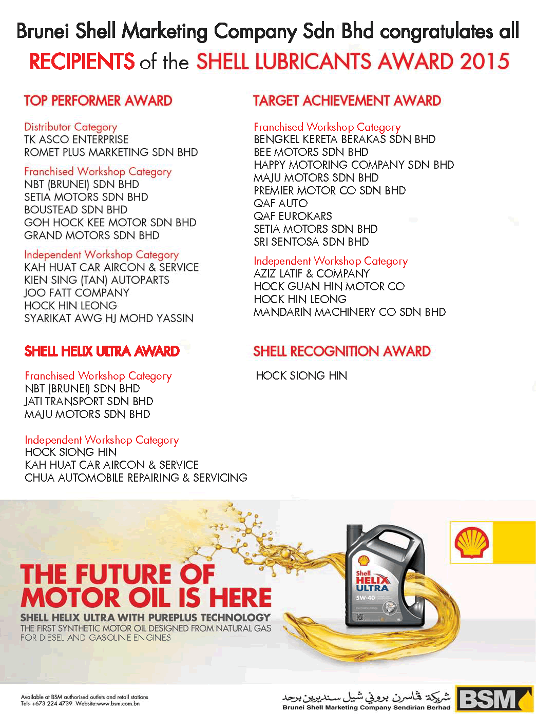 shell lubricants awards 2015